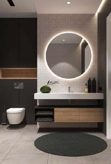 37. Decoração moderna com banheiro redondo para banheiro com iluminação embutida – Foto: Futurist Architecture