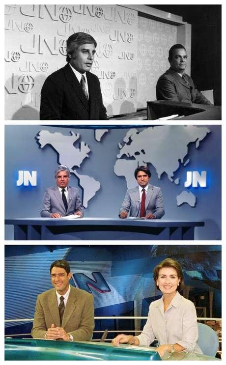 A primeira dupla do JN, Cid Moreira e Hilton Gomes, em 1969; Cid e Sergio Chapelin no início da década de 1980; Bonner e Fátima Bernardes no começo dos anos 2000