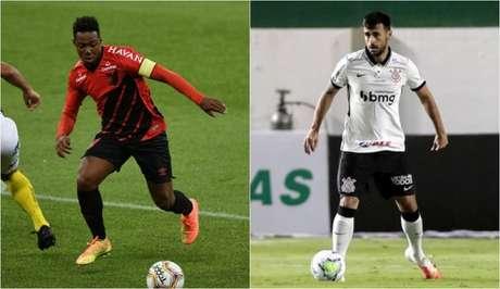 Troca entre Wellington e Camacho foi especulado nos últimos dias (Foto: Montagem/Athletico-PR/Corinthians)