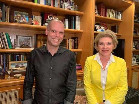 O prefeito Bruno Covas e a ex-prefeita Marta Suplicy após jantar nesta quarta-feira, 9 de setembro