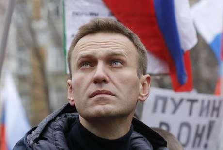 Líder opositor russo Alexei Navalny durante protesto em Moscou 24/02/2019 REUTERS/Tatyana Makeyeva