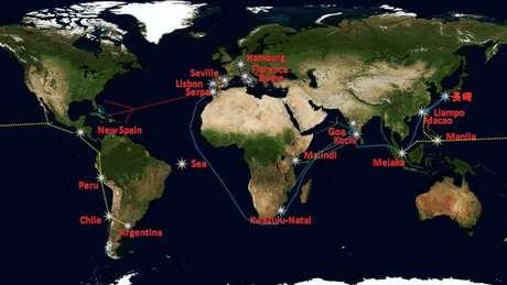 Mapa traça as rotas comerciais por onde os portugueses transportavam os escravos