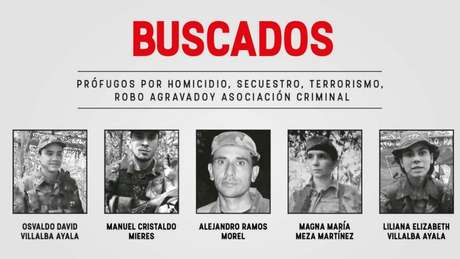 Cartaz do governo do Paraguai mostrando as pessoas procuradas pelo sequestro do ex-vice-presidente