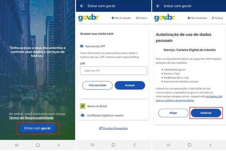 """Passo 1: abra o aplicativo da Carteira Digital de Trânsito e entre com a sua conta do portal Gov.br. Se não tiver, pode fazer o cadastro pelo próprio aplicativo. Toque em """"Autorizar"""" para permitir que o portal acesse dados necessários para utilizar a CNH Digital."""