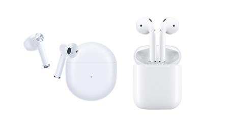 One Plus Buds (esq.) e Apple AirPods (dir.)