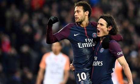 Ex-parceiro, Neymar e Cavani faziam dupla de ataque no PSG, da França (Foto: Franck Fife/AFP)
