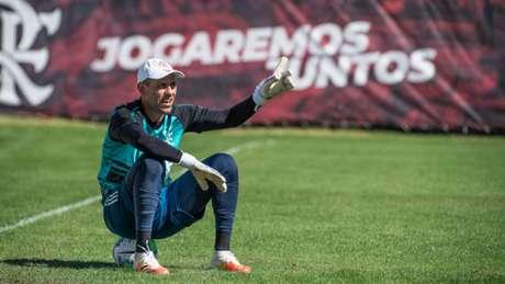 O goleiro Diego Alves durante treinamento do Flamengo no Ninho do Urubu (Foto: Alexandre Vidal / CRF)