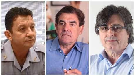 Da esquerda para a direita, os candidatos coronel Usai (PRTB); Duarte Nogueira (PSDB) e Antônino Alberto Machado (PT)
