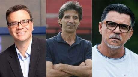 Mauro Beting, Mauro Galvão e Ricardo Rocha comentam a Libertadores no SBT (Reprodução; Rafael Ribeiro/Vasco; Maurício Rummens/Fotoarena/Lancepress!)