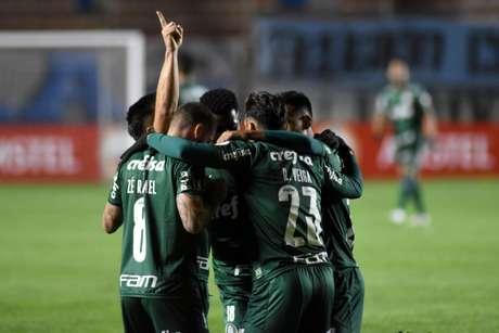 Jogadores do Palmeiras comemoram na vitória (Divulgação/Libertadores)