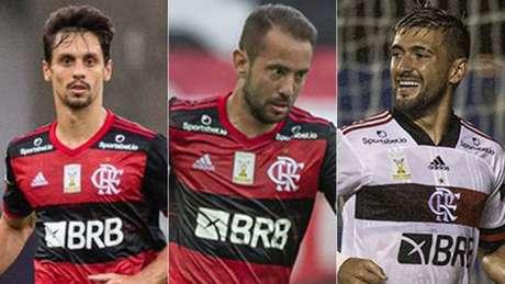 O trio de jogadores convocados por Brasil e Uruguai nesta sexta-feira (Foto: Alexandre Vidal/Flamengo)