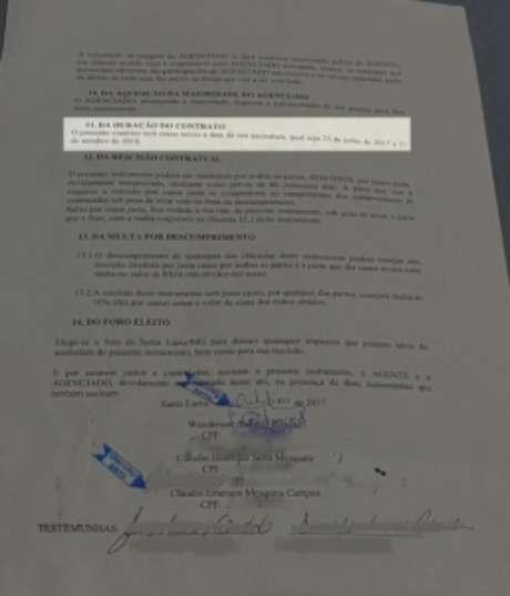 Contrato assinado pelas duas partes expirou em 31/10/2018