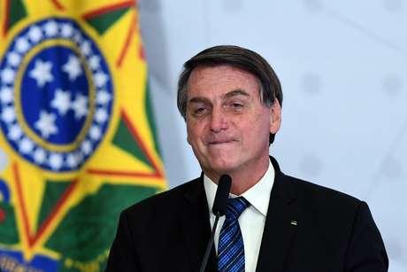 O presidente da República, Jair Bolsonaro, durante solenidade de lançamento do Programa Norte Conectado, no salão Nobre do Palácio do Planalto, em Brasília, na tarde desta terça- feira, 1º.