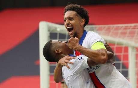 Marquinhos fechou o placar na vitória contra o Nice (Valery HACHE / AFP)