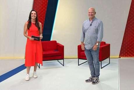 """Glenda e Elia Júnior comandam o 'Show do Esporte', na """"Band"""" (Foto: Reprodução/Band)"""