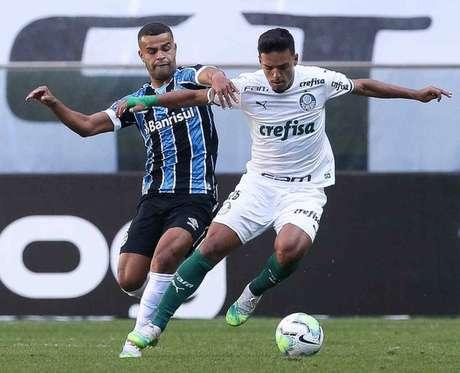 Gabriel Menino durante o empate entre Grêmio e Palmeiras (Foto: Cesar Greco/Palmeiras)