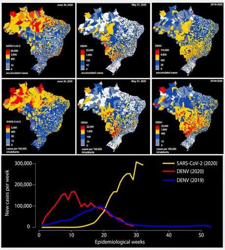 Comparação entre distribuição geográfica de casos de Covid-19 e sua incidência até 30 de junho de 2020 e de casos de dengue e incidência no Brasil até 31 de maio de 2020; e soma de todos os casos de dengue e incidência de 2019 até 31 de maio de 2020  UFPB/via REUTERS