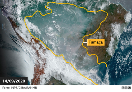 Fumaça na América do Sul em imagem de Satélite no dia 14 de setembro de 2019