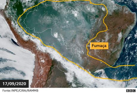 Fumaça na América do Sul em imagem de Satélite no dia 17 de setembro de 2019