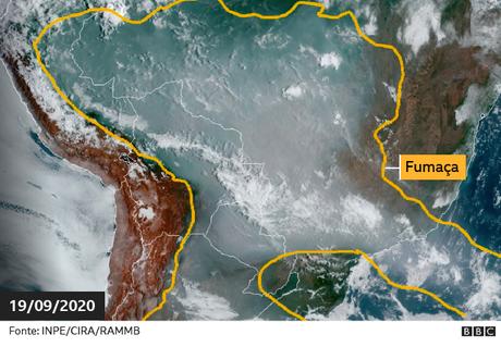 Fumaça na América do Sul em imagem de Satélite no dia 19 de setembro de 2019