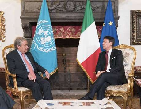 Premier italiano e secretário da ONU em 2019, em Roma