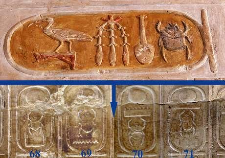 Na parte superior, a representação do nome de Hatshepsut, que deveria figurar abaixo entre os de Tutemés II (69) e Tutemés III (70) na Lista Real
