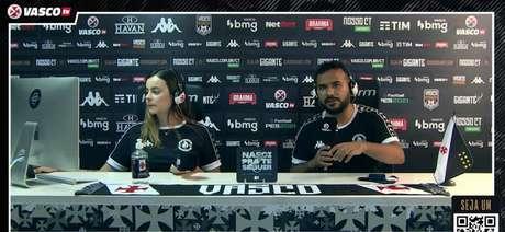 Sarah Borborema e Carlos Gregório são os apresentadores da Vasco TV (Reprodução/ Vasco TV)