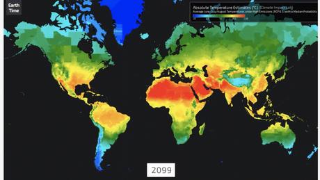 Visualização do EarthTime mostra como o clima pode aumentar no mundo até 2100