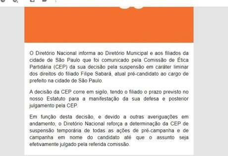Em comunicado, Novo suspende candidatura de Sabará