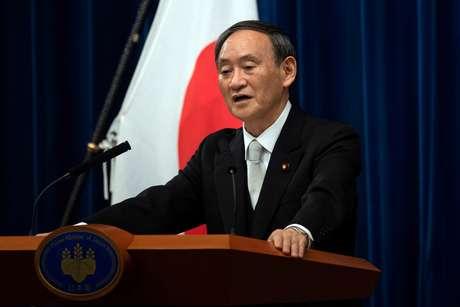 Primeiro-ministro do Japão, Yoshihide Suga, durante entrevista coletiva em Tóquio 16/09/2020 Carl Court/Pool via REUTERS