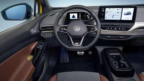 Interior do ID.4 tem um pequeno quadro de instrumentos digital e um grande display multimídia.