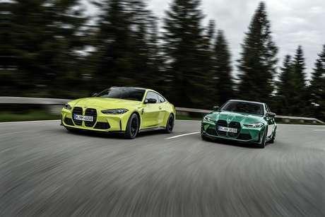 Novos BMM M4 Coupé (amarelo) e M3 Sedan (verde): condução esportiva clássica.