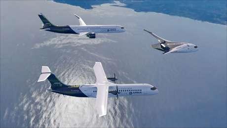 Os três conceitos de aeronaves desenvolvidos pela Airbus com a intenção de alcançar o primeiro voo com zero emissão de carbono