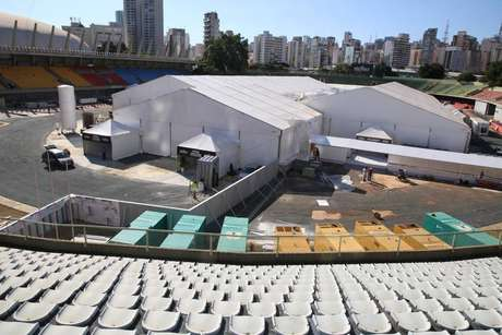 Hospital de campanha para covid-19 está localizado noComplexo Esportivo do Ibirapuera