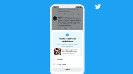 Twitter alerta para leitura de artigos