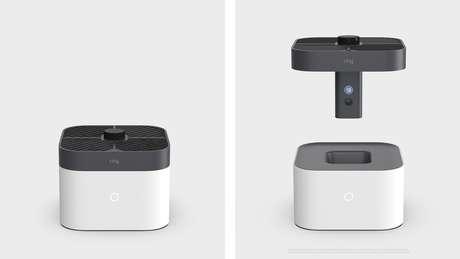 A câmera de vigilância da Ring está embutida em um drone, que pode ser acionada tanto pelo usuário quanto pelo alarme de segurança residencial