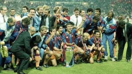 Sob o comando de Johan Cruyff, o Barcelona foi campeão da Liga dos Campeões da UEFA pela primeira vez em sua história, em 1992 (Twitter/Barcelona)