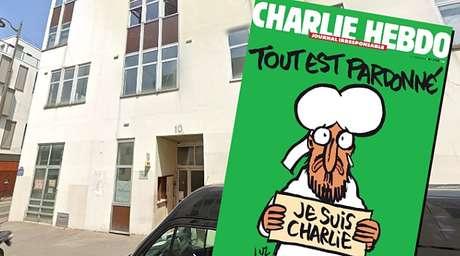 """A fachada do prédio onde funcionava a redação do 'Charlie Hebdo' e a primeira edição após a tragédia de 2015: """"Tudo está perdoado"""""""