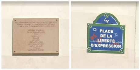 Placas no local do atentado de 2015 servem de fundo para fotos de turistas