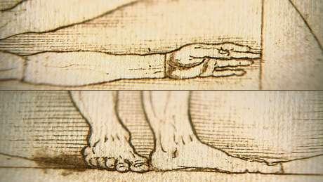 Mão tocando o lado do quadrado e os pés na base do círculo e do quadrado