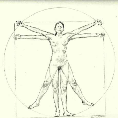 Embora nem Vitrúvio nem Da Vinci tenham mencionado as proporções ideais das mulheres, 1.385 dos participantes escaneados eram do sexo feminino. Com as proporções obtidas foi criada esta imagem.
