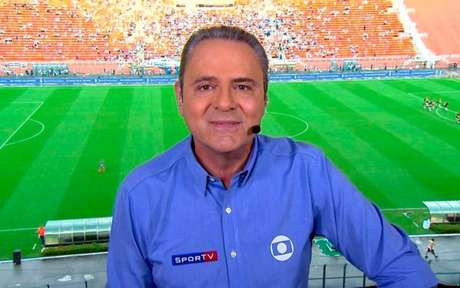Luís Roberto entrou no estúdio sem saber se narraria o jogo (Foto: Reprodução/TV Globo)