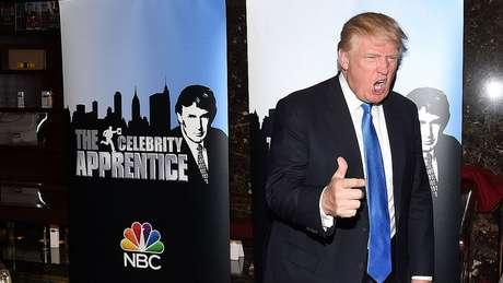 O presidente Trump, fotografado em 2015 no lançamento da série de TV The Celebrity Apprentice, ganhou US$ 427,4 milhões em 2018 com o programa