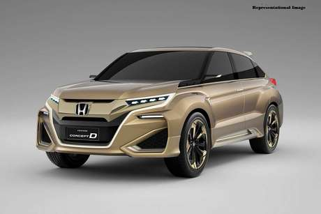 Projection of the new Honda HR-V with a typical Asian design and two huge openings on the bottom.