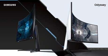 Os dois novos monitores da linha Odyssey da Samsung: à esquerda, o G7; à direita, o G9