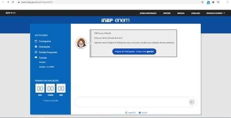 Portal do Participante do Enem.