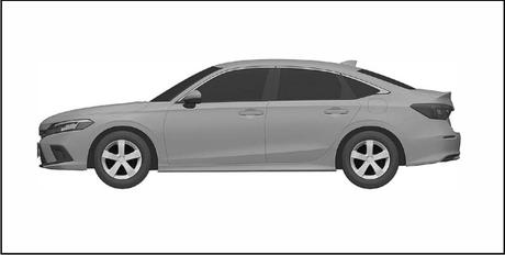 Na lateral, o desenho mostra o balanço dianteiro  bem grande e carroceria mais conservadora.