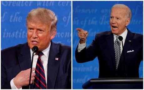Fotos de Trump e Biden durante o primeiro debate da campanha eleitoral 29/09/2020 REUTERS/Brian Snyder