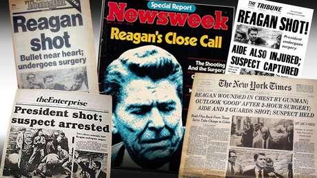 Alguns jornais do dia seguinte ao atentado contra Reagan