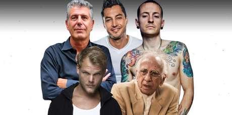 Acima, o chef e apresentador Anthony Bourdain (1956-2018), visto na CNN Brasil, o ex-Menudo Anthony Galindo (1979-2020) e o vocalista do Linkin Park Chester Bennington (1976-2017); abaixo, o DJ Avicii (1989-2018) e o ator Flávio Migliaccio (1934-2020): famosos na estatística de suicídio masculino